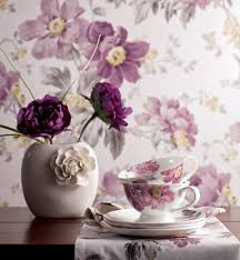 interior design with flowers wallpaper and fabrics with floral pattern for decoration in interior