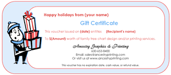 gift certificate printing gift certificates for genealogy