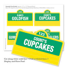 sesame street printable food labels 20 pre made and