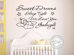 Girls Bedroom Wall Quotes Sweet Dreams Sleep Tight Wall Art Sticker Baby Boy Bedroom