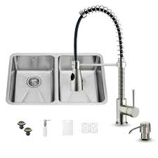 Vigo Kitchen Faucet by Shop Vigo 29 25 In X 18 5 In Premium Satin Double Basin Stainless