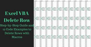 excel vba delete row step by step guide and 12 code examples