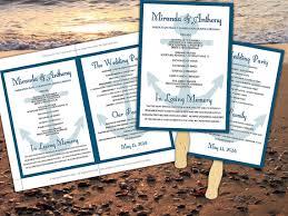 Wedding Ceremony Fan Programs Wedding Fan Program Template Navy Marine Blue