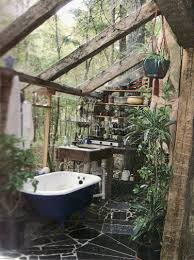 Outdoor Bathrooms Ideas by Outdoor Bathroom Toilet Pedestal Sink Above Round Mirror On The