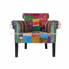 Indian Drawing Room Furniture Living Room Furniture Silk Fabric Patch Work Indian Design Arm