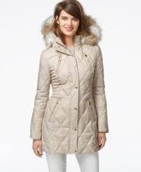 laundry by design hooded jacket laundry by design faux fur trim utility coat coats women macy s