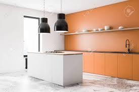 white kitchen cabinets orange walls corner of stylish kitchen with white and orange walls marble