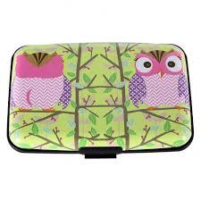 Designer Travel Card Holder Aluminum Wallet Rfid Blocking Hard Metal Credit Card Holder Owls