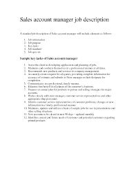 Job Description Of Cosmetologist Account Manager Job Description For Resume Recentresumes Com