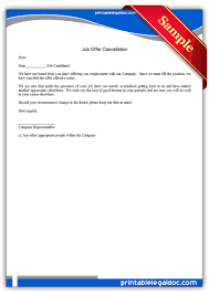 free printable job offer cancellation sample printable legal