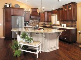 cherry kitchen island cherry kitchen cabinets with gray wall and quartz countertops