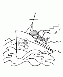 big ship on the waves coloring page for kids transportation
