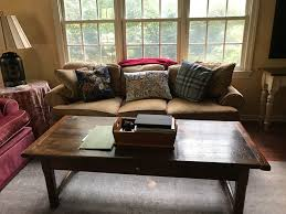 home again design nj large classic couch and wooden coffee table furniture once and
