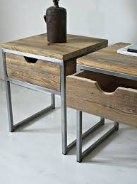Stainless Steel Nightstand Industrial Bedside Table Wood And Steel By Naivewoodfactory