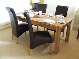 Chair Rectangle Soft Brown Oak Dining Table With Grey Folding - Oak dining room table chairs