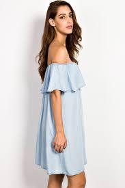 light blue dress light blue shoulder denim dress oasap