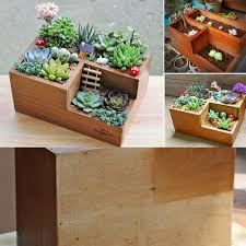 wooden garden window box trough planter succulent flower bed pot