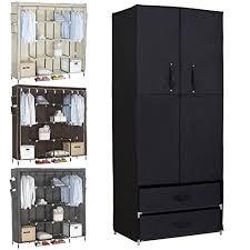 Cloth Closet Doors Woltu Portable Clothes Closet Wardrobe With 2 Drawer Clothes