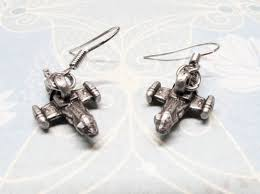 serenity earrings tiny 3d spaceship earrings pewter silver inspired by serenity