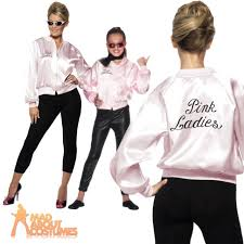 grease girls pink ladies jacket fancy dress costume kids
