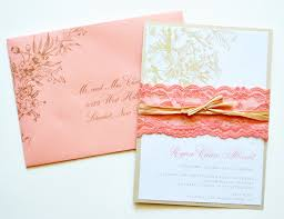 coral wedding invitations coral lace wedding by whimsybdesigns