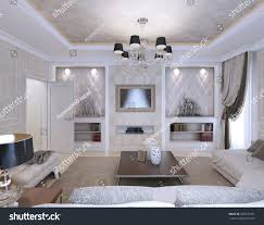 living room neoclassical style 3d render stock illustration
