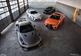 lexus rcf vs f type hard to beat two lexus lfas and two lexus rc fs in the same image