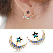 ear studds 1 pair charm ear studs beauty moon design rhinestone