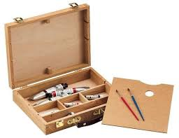 heritage arts wooden supply storage box with palette