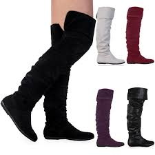 womens flat boots uk 1j womens faux suede flat the knee slouch winter