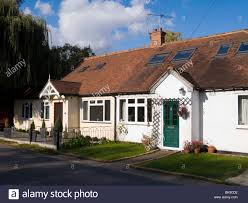 a terrace of bungalow homes houses in lower sunbury surrey uk