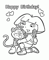 dora cartoon happy birthday coloring page for kids holiday