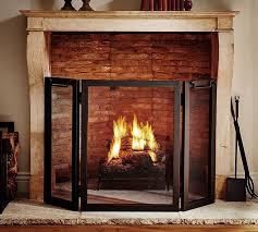 industrial fireplace screen pottery barn