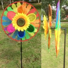 new diy rainbow wheel layer sunflower windmill wind spinner
