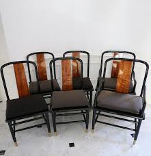 six henredon elan koa wood and black lacquer dining chairs ebth