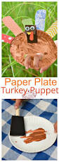 make a paper plate turkey puppet for a thanksgiving craft with