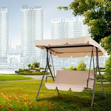 Outdoor Patio Swing by Sand Ikayaa 3 Seat Outdoor Garden Patio Swing Chair With Canopy