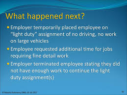 what is light duty work job accommodations and the interactive process ppt download
