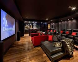 decoration wide home theater design with dark leather sofas and