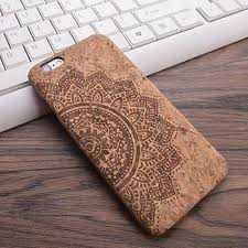 cork wood grain design carving pattern phone cover for iphone 6