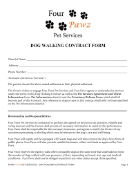 contract dog walking contract template with photos dog walking