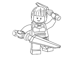 lego pose ready to fight with two swords coloring pages for kids