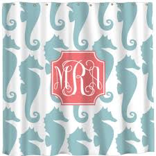 Seahorse Shower Curtain Monogrammed And Personalized Shower Curtains The Well Appointed