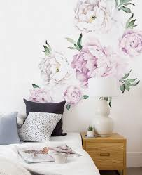 wallpaper and wall stickers fresh cut flower picks for spring peony flowers wall sticker w5028 vintagelilac adds a splash of color to a bedroom decorated