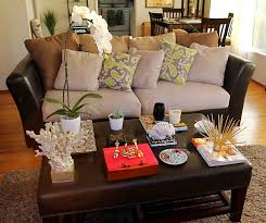 Decorating Coffee Table Furniture Brown Leather Coffee Table Decorating Ideas With Small