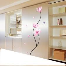 1 x pink flower stem easy removable wall decor sticker wall