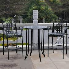 Wrought Iron Patio Table And Chairs Shop International Caravan Mandalay 3 Piece Antique Black Wrought
