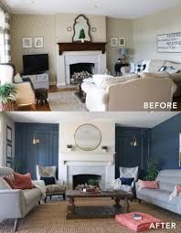 Navy Accent Wall by Living Room Makeover With The Roomplace Beautiful Family Room