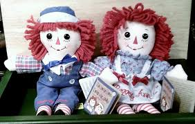 yesteryear country store raggedy and andy dolls tin ornaments