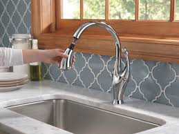 Touch Activated Kitchen Faucet Delta Addison Touchless Single Handle Standard Kitchen Faucet